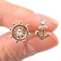 Small Anchor and Wheel Nautical Stud Earrings in Light Gold from Dotoly Plus
