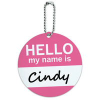Cindy Hello My Name Is Round ID Card Luggage Tag