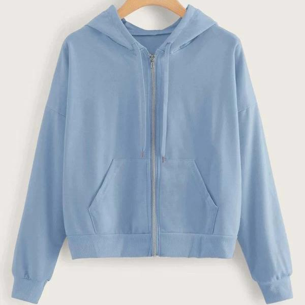 Image of Fashion Casual Women Solid Zip-Up Drawstring Hoodie