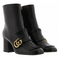 Gucci GG Black Leather Ankle Boots