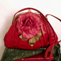 Retro Red leather Rose handbag upcycled vintage red bag