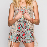 Full Tilt Open Stitch Womens Fringe Vest Natural  In Sizes