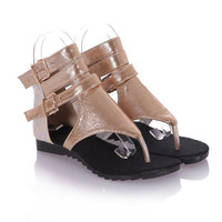 Buckle Stitching Flat Sandals Thong Gladiator Gold Sandals