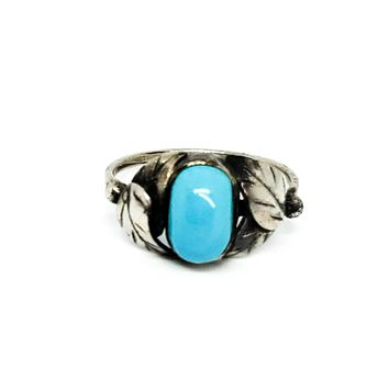 Turquoise handcrafted artisan alpaca silver southwest style ring size 9
