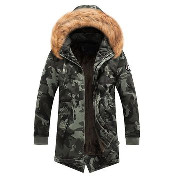 Trendy MORUANCLE Men's Warm Jackets And Coats Wool Lined Long Parkas With Fur Hood Military Style Camoufalge Trench Coat Windbreaker AT_94_13