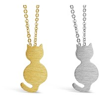 Cute Cat Charm Necklace With Chain