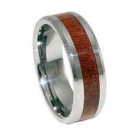 KOA wood Inlay flat tungsten men's ring 8mm
