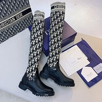 DIOR Fashion New Products Knitted Letter Embroidered One-Piece Knight Boots High-Top Socks Shoes