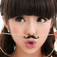 YESSTYLE: 59 Seconds- Mustache Necklace (Black and Gold - One Size) - Free International Shipping on orders over $150