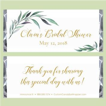 Greenery Bridal Shower Candy Bar Wrappers