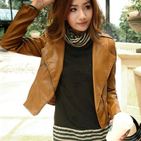 Notched Collar Zip-up Pockets Leather Jacket