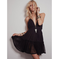 V-Neck Spaghetti Strap Sheer Pleated Mini Dress