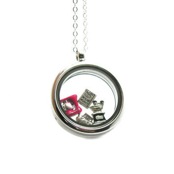 Floating Charm Locket Necklace, Memory Locket, Floating Charm Necklace, Memory Locket Necklace, Floating Locket, Cooking Charm, Chef Jewelry