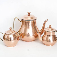 Vintage Copper Tea Set, Teapot Creamer and Sugar with Brass Handles, French Cottage decor