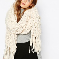 Pieces | Pieces Chunky Knit Blanket Scarf at ASOS