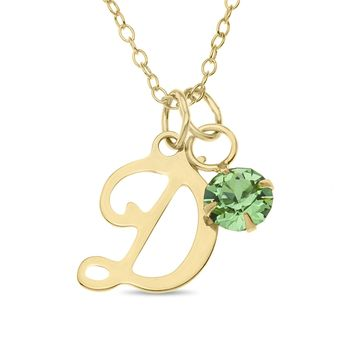 SCRIPT INITIAL WITH BIRTHSTONE CHARM PENDENT - GOLD