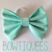 Mint Green Bow, Mint Hair Tie, Mint Pony Tail Holder