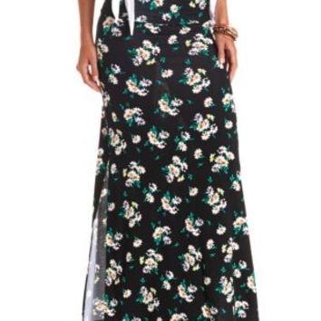 Daisy Print Double Slit Maxi Skirt by Charlotte Russe - Black Combo