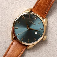 Nixon Bullet Light Gold and Turquoise Leather Watch