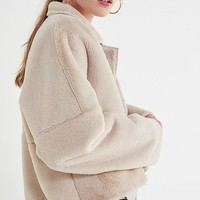 UO Felicity Reversible Faux Fur Jacket | Urban Outfitters