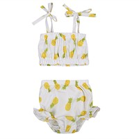 Baby Girls Clothing Set Princess born Baby Girl Lace pineapple Tops T-shirt+Floral Shorts Pants Outfits Clothes