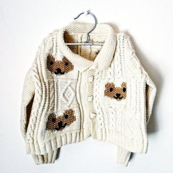 4-6 yrs, vintage 100% handmade children's sweater with teddy bear motifs
