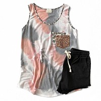 Pink Tie Dye, Leopard and Sequin Tank