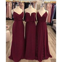 Burgundy Bridesmaid Dresses, Bridesmaid Dress For Wedding BM0013