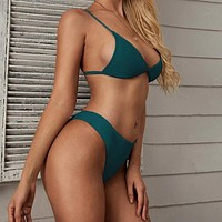 Fashion Casual Women Triangle High Cut Bikini Swimsuit
