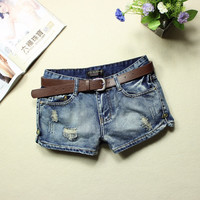 2017 jeans womens summer low waist blue ripped washed short jeans feminino placketing hole pantalones cortos mujer jeans shorts