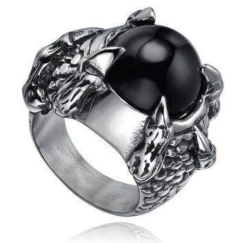Stainless Steel Heavy Dragon Claw W. Black Onyx Ring