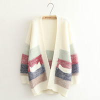 Block None-Button Pocket Knitted Cardigan