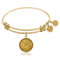 Expandable Bangle in Yellow Tone Brass with Virgo Symbol