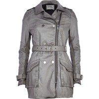 Grey leather-look trench coat - leather / leather look jackets - coats / jackets - women
