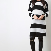 Two Tone Striped Knit Long Sleeves Sweater Dress