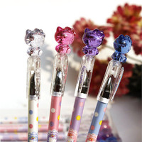 Hello Kitty Pen, Crystal Top, Cute Cat, Polka Dot, Kawaii Stationary, School Supplies