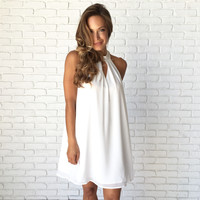 Pulled Back In Shift Dress In White