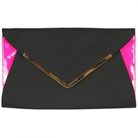 VIPARO | Black and Hot Pink  Envelope Clutch Bag - Aviva