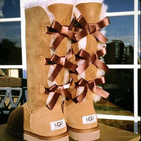 UGG Women Fashion Wool Snow Boots Calfskin Shoes Cute Three Bowknot Chestnut
