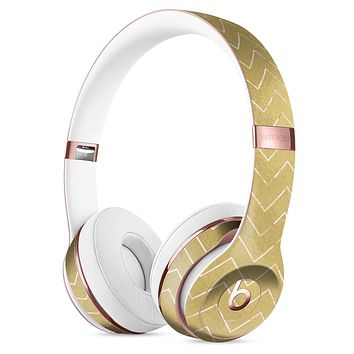 The Golden Surface with White Chevron Full-Body Skin Kit for the Beats by Dre Solo 3 Wireless Headphones