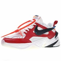 """Off white x Nike Air Monarch the M2K Tekno """"OW Leather White Red"""" Retro Running Sneaker AO3108-060"""