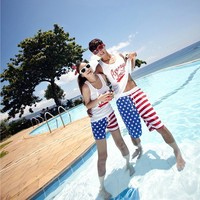 US Flag Beach Holiday Shorts for Couple