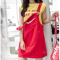 NIKE Fashion new summer embroidery hook hole strap dress strap dress Red