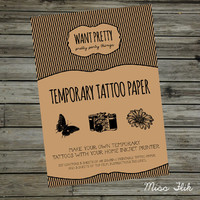 DIY Temporary Tattoo Paper Print Yourself 5 Sheets Make Your Own Temp Tattoos