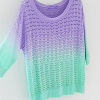 A 081904 Colorful Gradient Hollow Pullover Sweater26