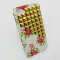 Amazon.com: 3D Gold Rivets Cross Studded Punk Case Cover For apple iphone 4 4S 4G: Cell Phones & Accessories