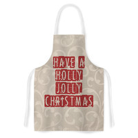 "Sylvia Cook ""Have A Holly Jolly Christmas"" Holiday Artistic Apron"