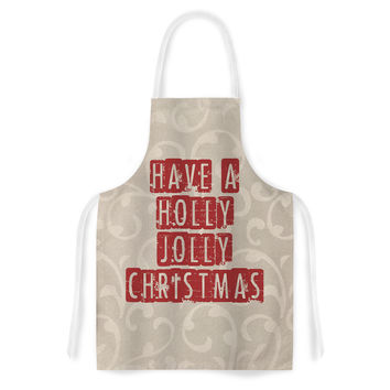 """Sylvia Cook """"Have A Holly Jolly Christmas"""" Holiday Artistic Apron"""