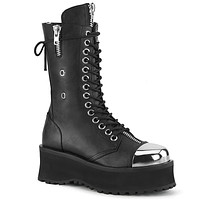 Grave Digger 14 Black Chrome Toe Men's Goth Platform Boot