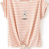 Pink Striped Rabbit Embroidered Knotted Short Sleeve T-Shirt